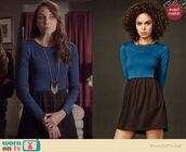 pretty little liars,blue dress,spencer hastings,necklace,tights,petrol