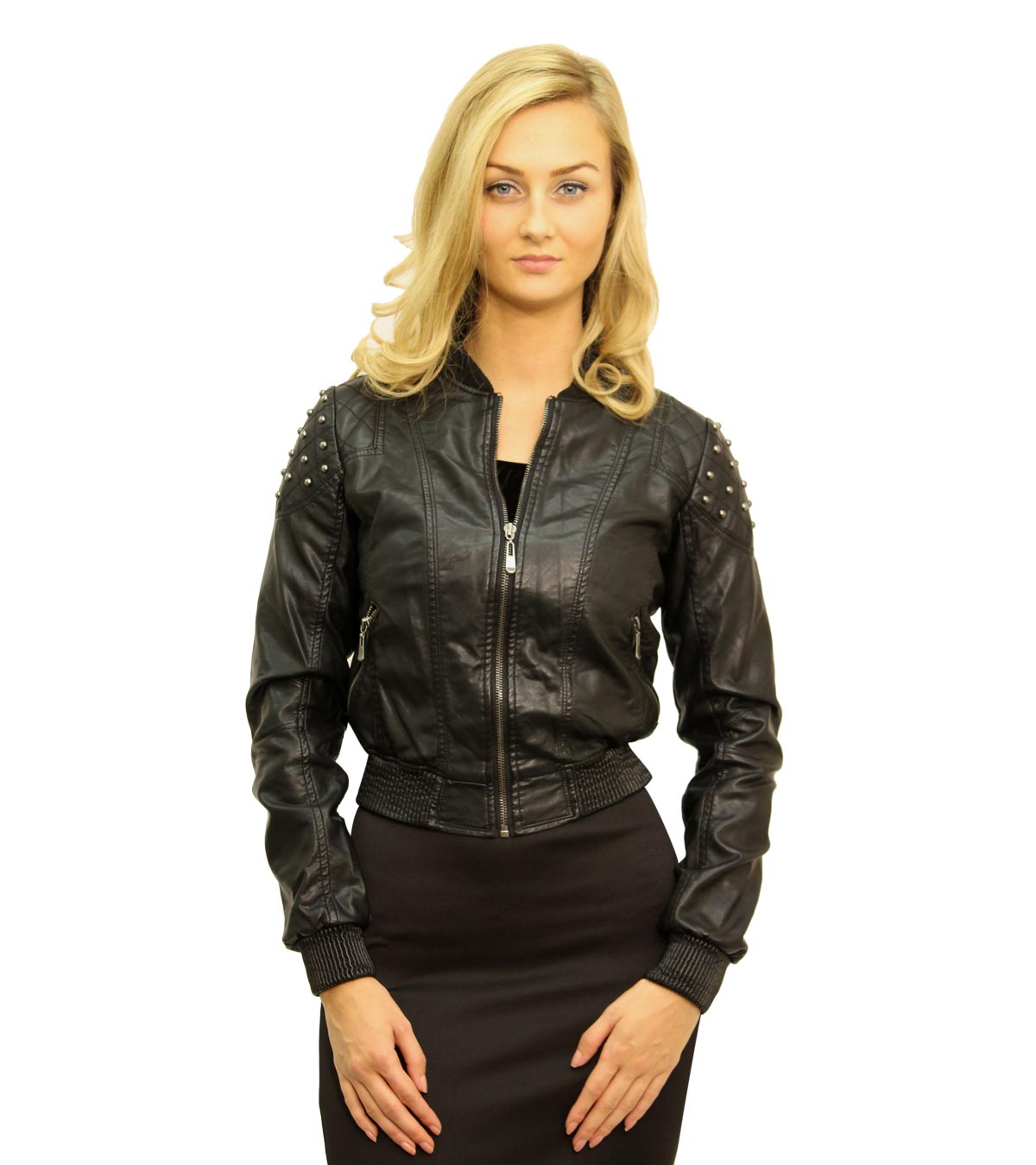 Black Jacket - Black Leather Look Studded Jacket | UsTrendy