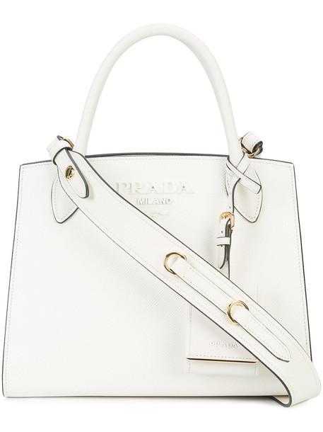 Prada women bag tote bag leather white