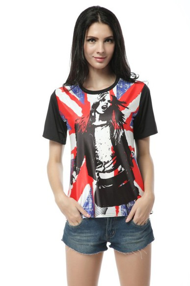 black t-shirt comfortable women's fashion short sleeves fas englandflag