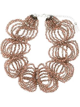 ruffle women beaded necklace purple pink jewels