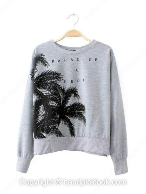 Grey Round Neck Long Sleeve Tree & English Letters Print Sweatshirt - HandpickLook.com