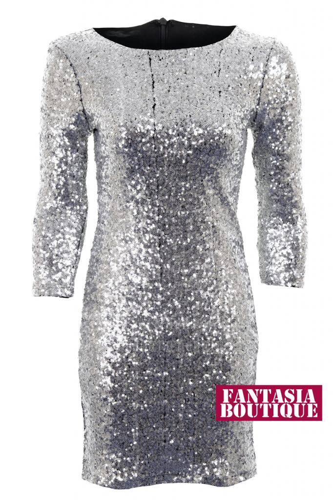 5e04d0533da Ladies 3/4 Sleeve Shiny Silver Sequin Womens Bodycon Dress Size 8 - 14 |  eBay