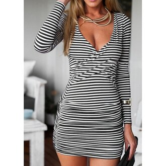 dress stripes black and white skin-tight sexy