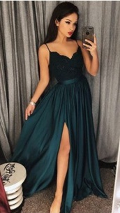 dress,looking for this dress where can i finds,green dress,grreen,dress green,green,lace,silk,navy,teal,side split dress