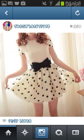 dress black and white polka dots bow gorgeous