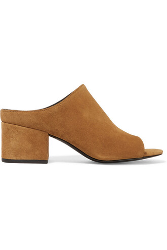 mules suede tan shoes