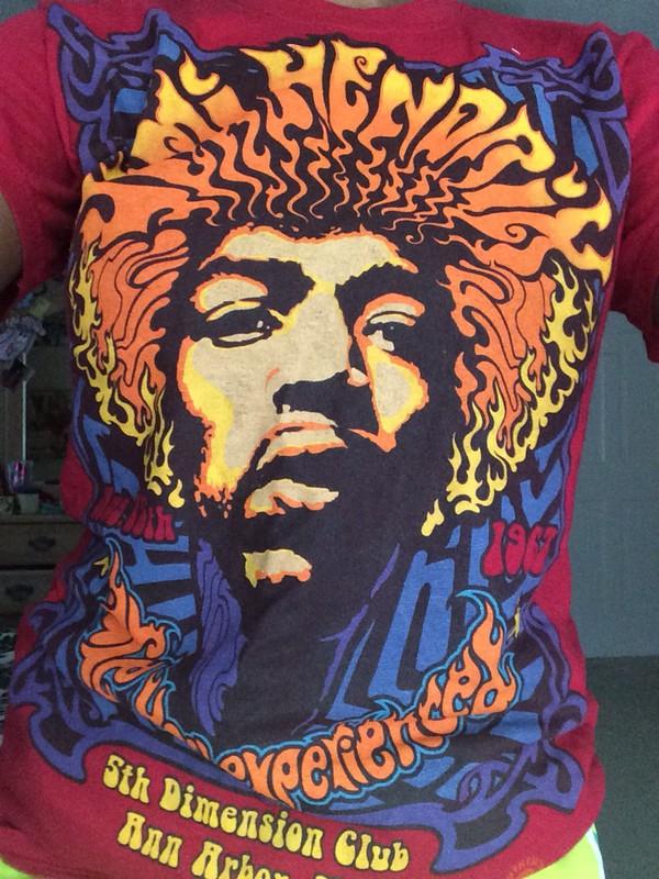 jimi hendrix colorful band t-shirt