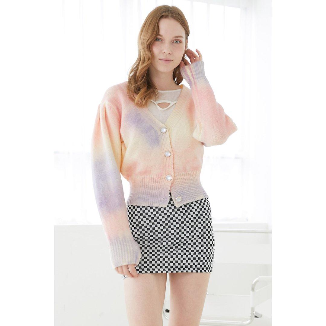Bety Puff Sleeve Multicolor Cardigan