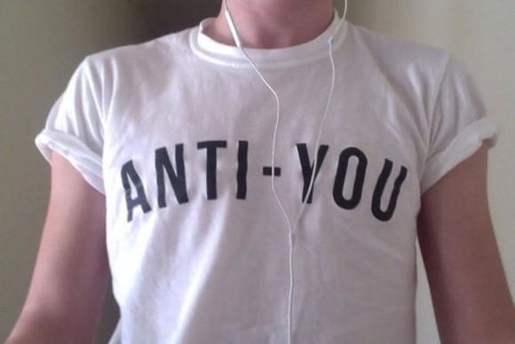 grunge pale black and white anti-you acid t-shirt white black anti-you shirt white anti cass casual you statement plain shirt blouse