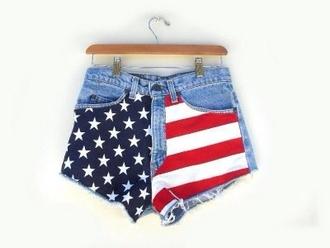 shorts highwaisted high waisted short american flag red blue fashion high waisted denim shorts high-wasted denim shorts