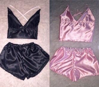 shorts pink black victoria's secret tank top pajamas silk satin pajama set underwear silk pajamas satin