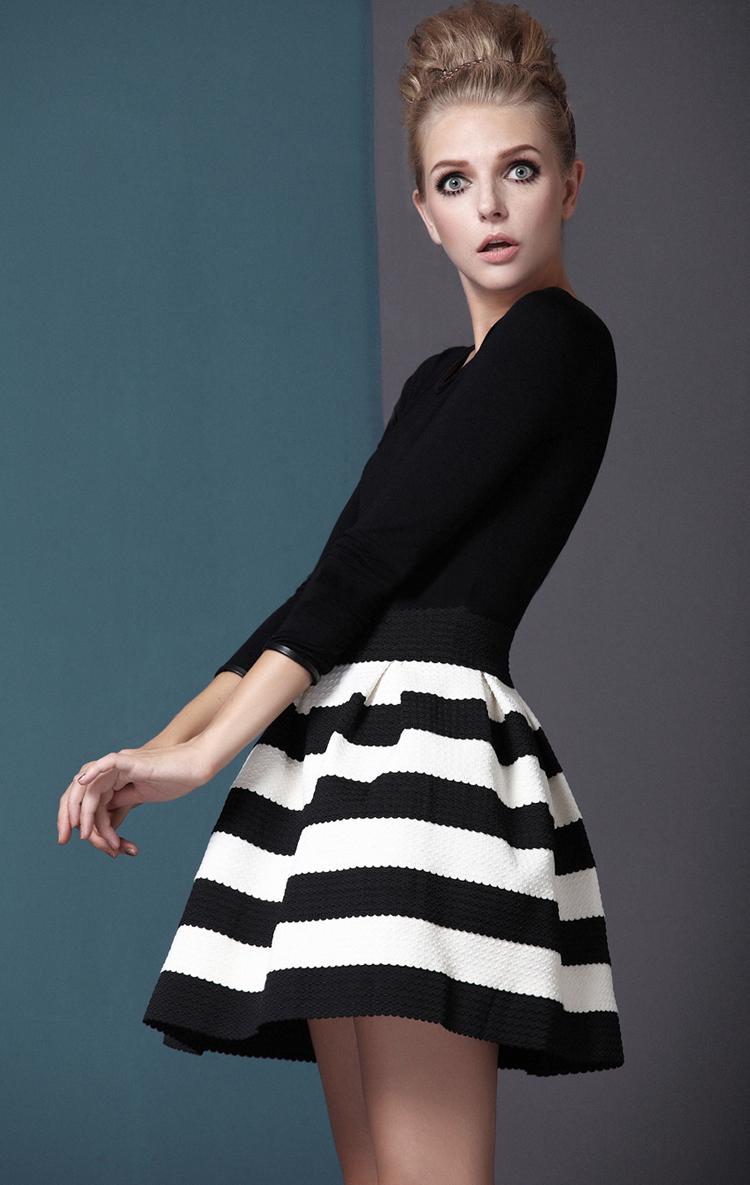 White Striped Three Quarter Length Sleeve Stripe Dress - Sheinside.com