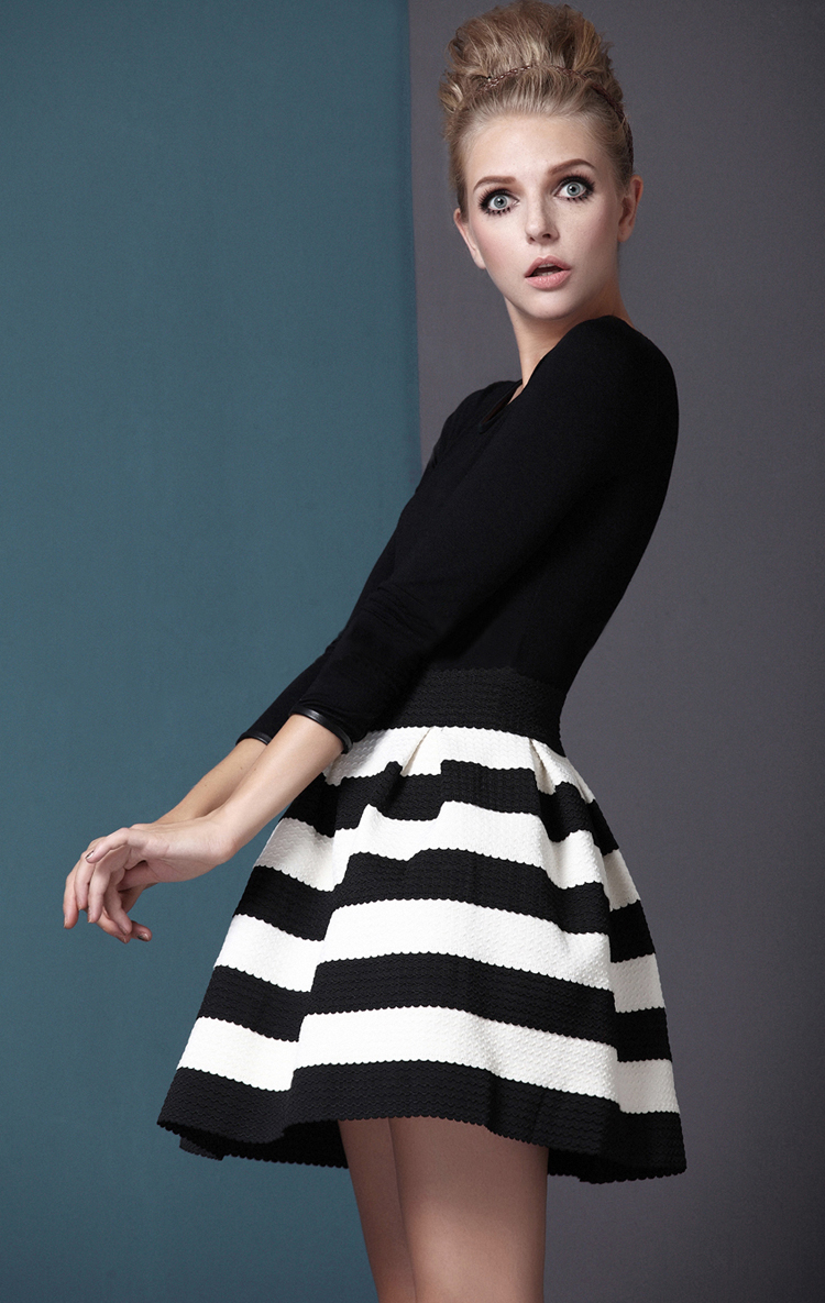 Black White Striped Three Quarter Length Sleeve Stripe