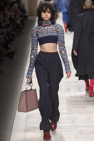 top crop tops cropped sweater high waisted fendi fashion week 2017 milan fashion week 2017