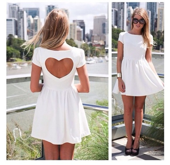 dress open back white dress heart