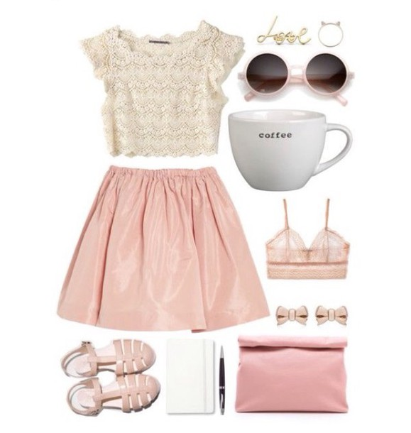 skirt pink lace girly top sunglasses shoes shirt