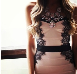 dress pink black blogger clothes lace formal jewels
