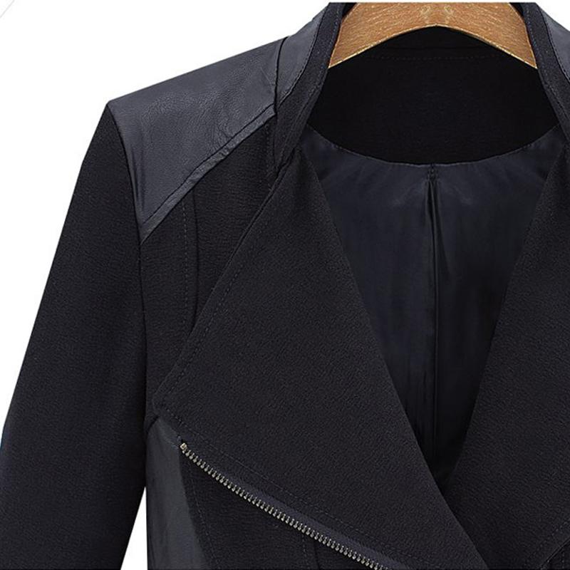 Black Contrast PU Leather Zipper Slim Coat - Sheinside.com