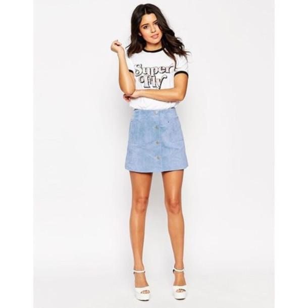 2a496242dc73 skirt, blue suede skirt, mini skirt, suede skirt, button up skirt ...