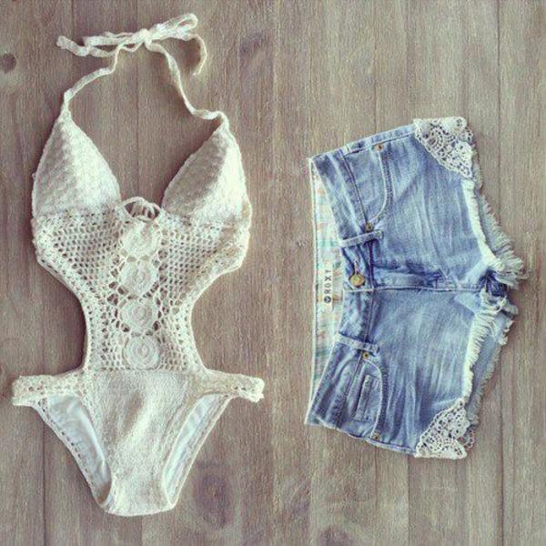 swimwear white shorts