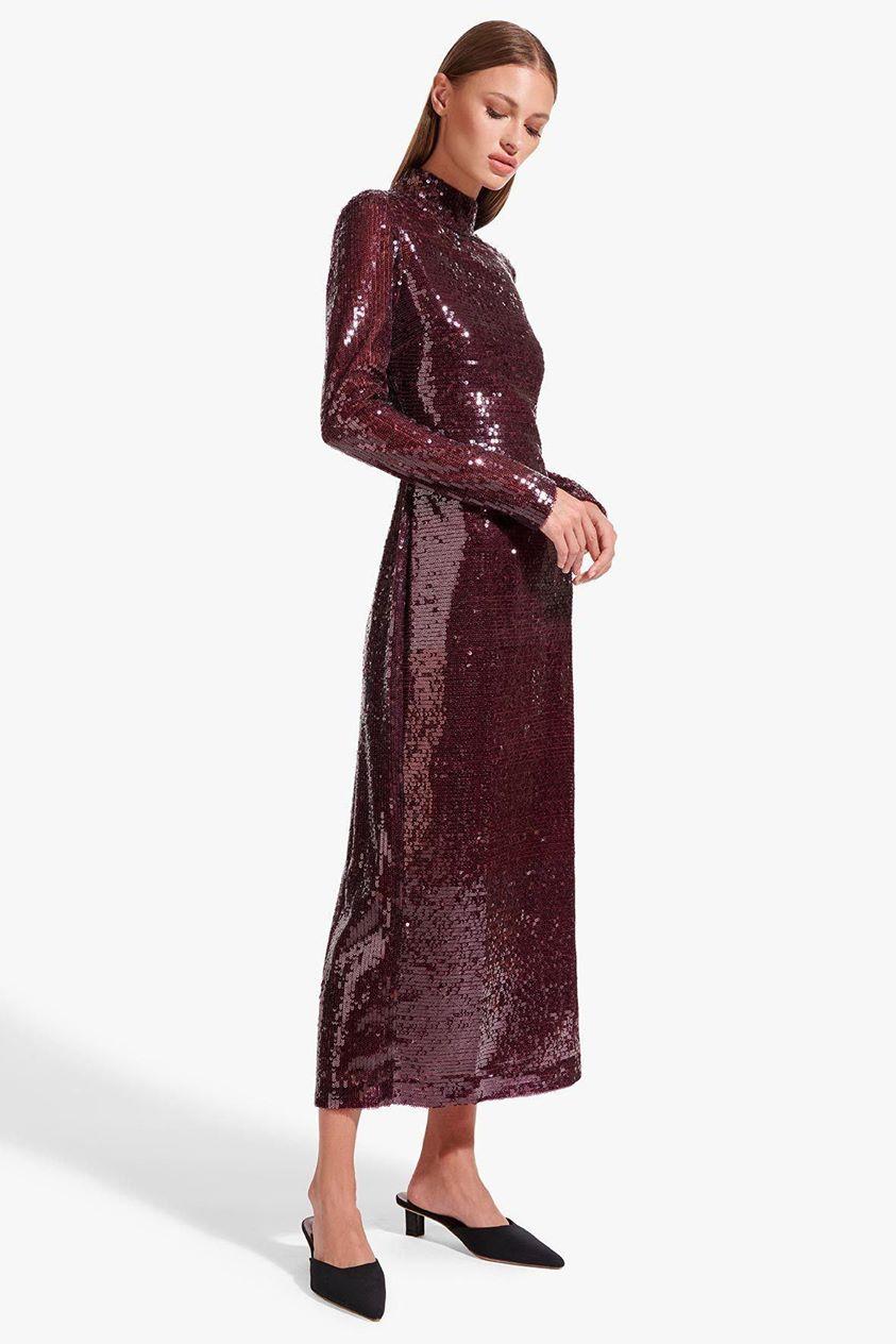 LIZA DRESS | MERLOT SEQUIN
