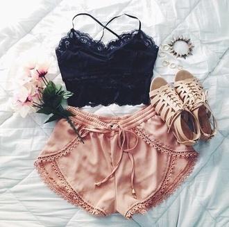 shorts pink shorts bralette @cute shoes blouse