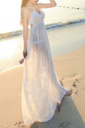 dress white sexy beach see through fashion style summer trendy maxi dress rosegal-dec