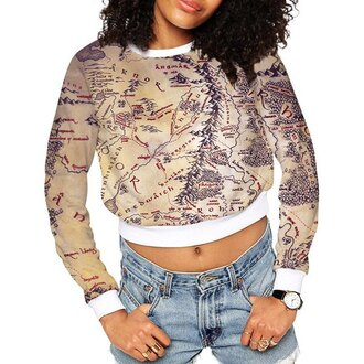 sweater map hipster dope vintage rose wholesale hippie tumblr urban
