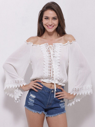 top choies off the shoulder top lace flare sleeve top crop tops