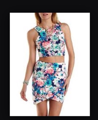 dress two-piece floral crop tops top crop matching set skirt bodycon charlotte russe pink multicolor blue tropical green purple white yellow