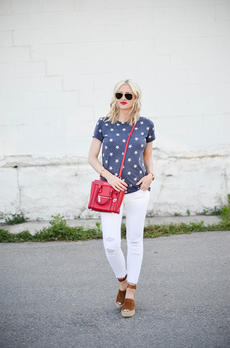 little miss fearless blogger t-shirt jeans shoes bag jewels stars white ripped jeans michael kors bag nordstrom streetwear