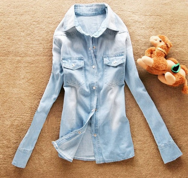 Hot sale European style women denim blouse slim jeans shirt lady's elegant quality blouse 2014 spring fashion denim blouse-in Denim Clothings from Apparel & Accessories on Aliexpress.com