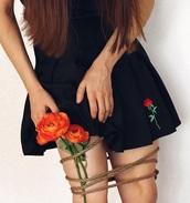 skirt,girly,black,mini,mini skirt,pleated,pleated skirt,rose,tennis skirt