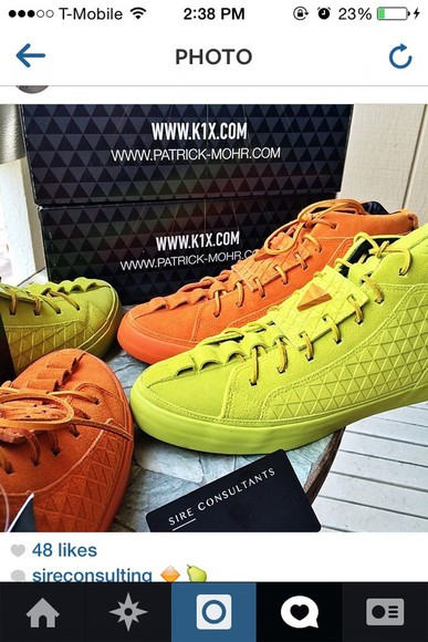 shoes orange shoes tennis lime green orange sneakers