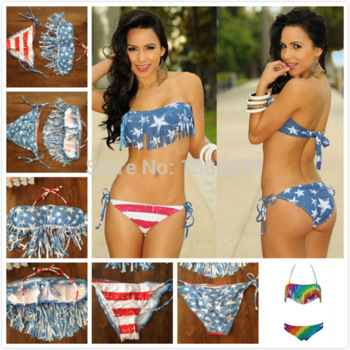 Aliexpress.com : buy usa flag fringe tassel bikinis set, sexy push up swimwear american flags women swimsuit, pin up retro fringe biquini from reliable swimsuit beach suppliers on igoodbuy