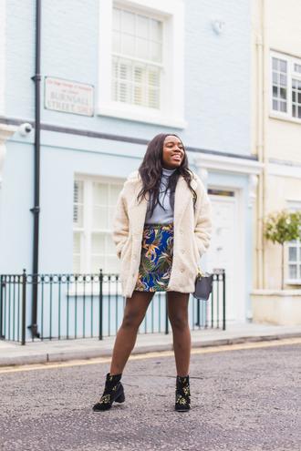 coat tumblr fuzzy coat white coat skirt mini skirt boots ankle boots turtleneck