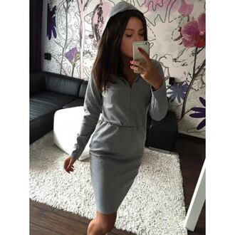dress casual grey hoodie casual solid color hooded long sleeve high waist hoodie dress for women fall outfits long sleeves trendy rose wholesale-dec