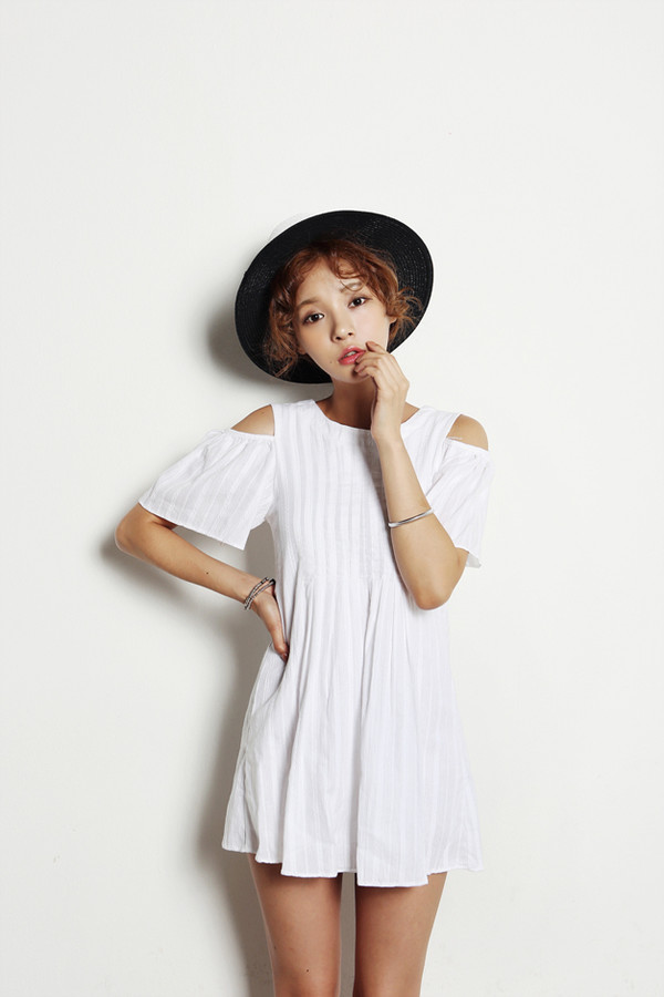 korean fashion open shoulders dress