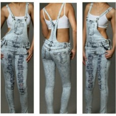 Destroyed Denim Overalls