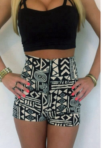aztec tribal pattern high waisted shorts
