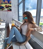 sweater,instagram,style,chillin,jeans,shoes,t-shirt,sunglasses,brown,mirrored sunglasses,watch,long hair