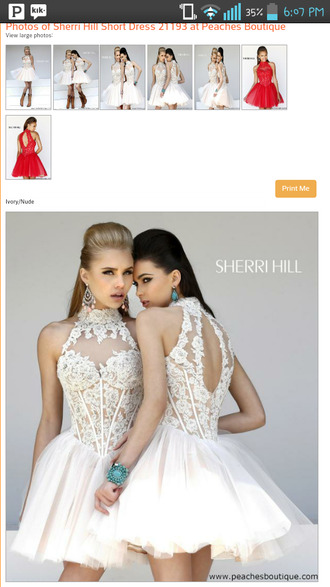 dress white lace halter neck openback sherri hill corset top