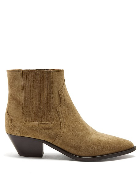 Isabel Marant suede ankle boots ankle boots suede tan light shoes
