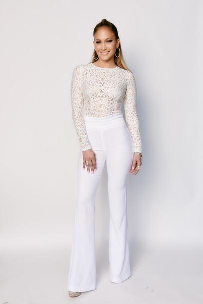 top lace lace top jennifer lopez pants white bodysuit