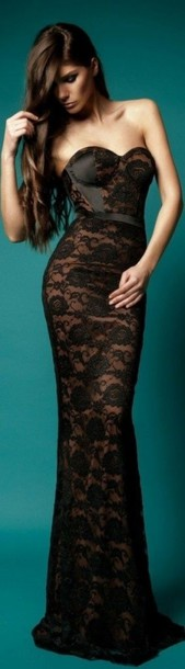 dress hot beautiful lace black corset lace dress long black dress gown lace gown