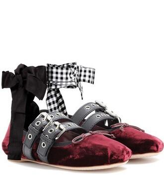 embellished velvet red shoes