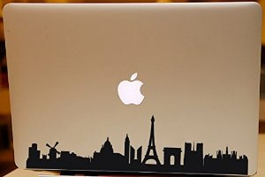 "Fantastic paris skyline macbook decal for air pro 13"" 15"" famous city skyline sticker decorative laptop sticker vinyl art decal"