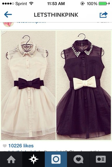 dress tulle white pearl black rhinestones collar dress bows fluffy