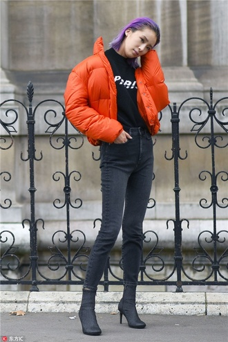 jacket tumblr puffer jacket red jacket orange denim jeans black jeans skinny jeans boots black boots streetstyle